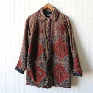 Sacred Threads Quilted Patchwork Jacket Small